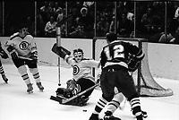 Seals vs Boston Bruins 1970 NHL action:<br />Bruins Rick Smith and goalie Eddie Johnston. (photo/Ron Riesterer)