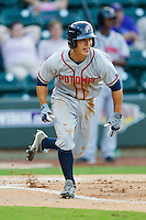 Zach Walters #2 of the Potomac Nationals hustles down the first base line against the Winston-Salem Dash at BB&T Ballpark on June 13, 2012 in Winston-Salem, North Carolina.  The Dash defeated the Nationals 5-3.  (Brian Westerholt/Four Seam Images)