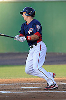 Catcher Cole Leonida (13) of the Potomac Nationals bats in a game against the Carolina Mudcats on Friday, June 21, 2013, at G. Richard Pfitzner Stadium in Woodbridge, Virginia. Potomac won, 5-1. (Tom Priddy/Four Seam Images)