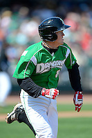 Dayton Dragons third baseman Tanner Rahier #8 during a game against the Bowling Green Hot Rods on April 21, 2013 at Fifth Third Field in Dayton, Ohio.  Bowling Green defeated Dayton 7-5.  (Mike Janes/Four Seam Images)