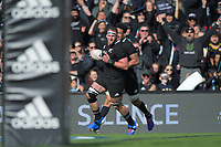 All Blacks captain Kieran Reid runs in a try during the international rugby union match between the New Zealand All Blacks and Tonga at FMG Stadium in Hamilton, New Zealand on Saturday, 7 September 2019. Photo: Dave Lintott / lintottphoto.co.nz