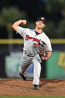 Brevard County Manatees  pitcher Jacob Barnes (30) during a game against the Dunedin Blue Jays on April 11, 2014 at Florida Auto Exchange Stadium in Dunedin, Florida.  Brevard County defeated Dunedin 5-2.  (Mike Janes/Four Seam Images)