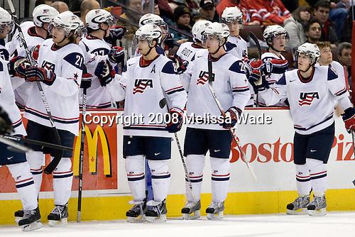 Eric Tangradi (USA - 25), Jimmy Hayes (USA - 12), James van Riemsdyk (USA - 21), Drayson Bowman (USA - 27), Kevin Shattenkirk (USA - 8), Aaron Palushaj (USA - 7), Ian Cole (USA - 28), Matt Rust (USA - 9), Mike Hoeffel (USA - 11), Tyler Johnson (USA - 10), Jordan Schroeder (USA - 19), Josh Unice (USA - 1) - Team USA defeated Team Germany 8-2 on the evening of Friday, December 26, 2008, at Scotiabank Place in Kanata (Ottawa), Ontario during the 2009 World Juniors U20 Championship.