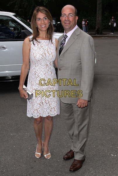 CARYN ZUCKER & JEFF ZUCKER.2009 Fresh Air Fund Salute To American Heroes held at Tavern On The Green, New York, NY, USA..June 4th, 2009.full length white dress clutch bag lace silver grey gray suit married husband wife .CAP/ADM/PZ.©Paul Zimmerman/AdMedia/Capital Pictures.