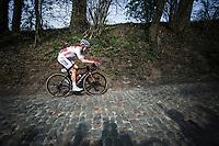 Lasse Norman Hansen (DEN/Corendon - Circus) up the Koppenberg<br /> <br /> 103rd Ronde van Vlaanderen 2019<br /> One day race from Antwerp to Oudenaarde (BEL/270km)<br /> <br /> ©kramon