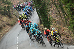 The peleton in action during a wet miserable Stage 7 of the 2018 Paris-Nice running 175km from Nice to Valdeblore la Colmiane, France. 10th March 2018.<br /> Picture: ASO/Alex Broadway | Cyclefile<br /> <br /> <br /> All photos usage must carry mandatory copyright credit (&copy; Cyclefile | ASO/Alex Broadway)