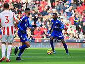 4th November 2017, bet365 Stadium, Stoke-on-Trent, England; EPL Premier League football, Stoke City versus Leicester City; Wilfred Ndidi of Leicester City moves the ball out of midfield