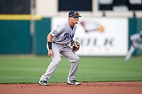 Tampa Tarpons shortstop Diego Castillo (19) blows a bubble while on defense during a game against the Lakeland Flying Tigers on April 5, 2018 at Publix Field at Joker Marchant Stadium in Lakeland, Florida.  Tampa defeated Lakeland 4-2.  (Mike Janes/Four Seam Images)