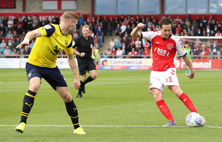 Fleetwood Town's Josh Morris shoots under pressure from Oxford United's Chris Cadden<br /> <br /> Photographer Rich Linley/CameraSport<br /> <br /> The EFL Sky Bet League One - Fleetwood Town v Oxford United - Saturday 7th September 2019 - Highbury Stadium - Fleetwood<br /> <br /> World Copyright © 2019 CameraSport. All rights reserved. 43 Linden Ave. Countesthorpe. Leicester. England. LE8 5PG - Tel: +44 (0) 116 277 4147 - admin@camerasport.com - www.camerasport.com