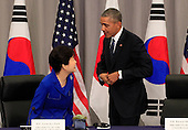 United States President Barack Obama attends a  trilateral meeting with President Park Geun-Hye of the Republic of Korea at the Nuclear Security Summit in Washington, DC on March 31, 2016.<br /> Credit: Dennis Brack / Pool via CNP