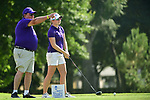 HOUSTON, TX - MAY 19: Casey Wild of Tarleton St. is instructed by her coach Jerry Doyle during the Division II Women's Golf Championship held at Bay Oaks Country Club on May 19, 2018 in Houston, Texas. (Photo by Justin Tafoya/NCAA Photos via Getty Images)