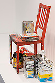 London, England. 14 October 2014. Red Chair (for Charlie), 2014, by Joyce Pensato, Lisson Gallery. Frieze Art Fair 2014 opens in Regent's Park, London. Photo: Bettina Strenske