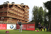 Tyrrell Hatton (ENG) tees off the 17th tee during Sunday's Final Round of the 2017 Omega European Masters held at Golf Club Crans-Sur-Sierre, Crans Montana, Switzerland. 10th September 2017.<br /> Picture: Eoin Clarke | Golffile<br /> <br /> <br /> All photos usage must carry mandatory copyright credit (&copy; Golffile | Eoin Clarke)