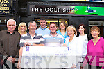 Donie and Stephen Broderick presents the Irish Cancer Society a cheque for EUR19,020.00 which they raised in the Catherine Broderick memorial golf classic, which was held in Killarney Golf Club last April, at the Killarney Golf Shop on Thursday front row l-r: Dan Spillane, Donie Broderick, Stephen Broderick, Margaret O'Sullivan Irish Cancer Society, Kathleen Spillane. Back row: Catriona Casey, Donal Considine, Laura Spillane and Tina Broderick   Copyright Kerry's Eye 2008