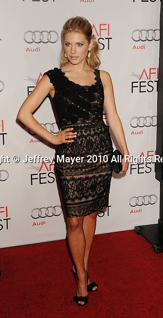 """HOLLYWOOD, Caiifornia - November 04: Kathryn Winnick arrives at the AFI Fest 2010 Opening Night Gala screening of """"Love And Other Drugs"""" at Grauman's Chinese Theatre on November 4, 2010 in Hollywood, California."""