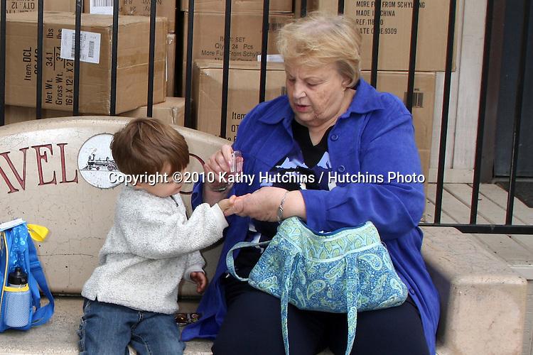 Blake Hutchins Peterson with Bev Hutchins.at Travel Town, Griffith Park,.Travel Town, Griffith Park.Los Angeles, CA.April 22, 2010.©2010 Kathy Hutchins / Hutchins Photo...