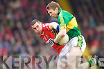 Tomas O'Se Kerry in action against Noel O'Leary Cork in the National Football league at Austin Stack Park, Tralee on Sunday March 24th.