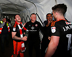 Billy Sharp of Sheffield Utd celebrates with Chris Wilder manager of Sheffield Utd during the English League One match at Sixfields Stadium Stadium, Northampton. Picture date: April 8th 2017. Pic credit should read: Simon Bellis/Sportimage
