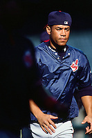 Roberto Alomar of the Cleveland Indians during a game against the Anaheim Angels at Angel Stadium circa 1999 in Anaheim, California. (Larry Goren/Four Seam Images)