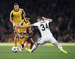 Arsenal's Alexis Sanchez tussles with Basel's Taulant Xhaka during the Champions League group A match at the Emirates Stadium, London. Picture date September 28th, 2016 Pic David Klein/Sportimage