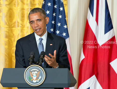 United States President Barack Obama makes remarks during a joint press conference with Prime Minister David Cameron of the United Kingdom (not pictured) in the East Room of the White House in Washington, D.C. on Friday, January 16, 2015. During the course of the press conference the leaders touched on issues such as cybersecurity, terrorism, ISIL and the economy.<br /> Credit: Ron Sachs / Pool via CNP
