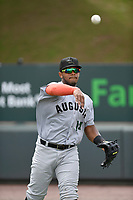 Center fielder Heliot Ramos (14) of the Augusta GreenJackets warms up before a game against the Greenville Drive on Thursday, May 17, 2018, at Fluor Field at the West End in Greenville, South Carolina. Augusta won, 2-1. (Tom Priddy/Four Seam Images)