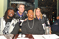 Ray Rice and Danelle Ellerbe hosted a food drive at Teavolve on Monday night in Baltimore to benefit the Be a Gaddy Foundation.