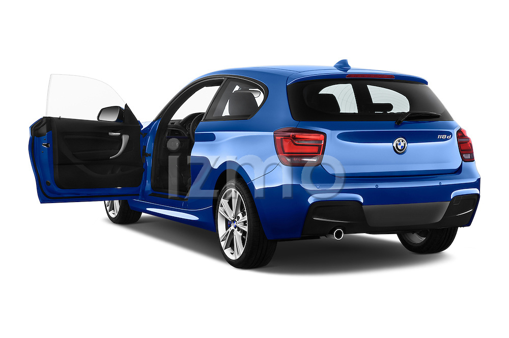 Rear three quarter door view of a 2012 - 2014 BMW 1-Series 118d M Sport 3 Door Hatchback 2WD.