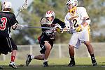 Palos Verdes, CA 03/30/10 - David Lee (Peninsula #29) and Matt Brothers (Palos Verdes #19) in action during the Palos Verdes-Peninsula JV Boys Lacrosse game.