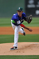 Starting pitcher Roniel Raudes (34) of the Greenville Drive delivers a pitch in a game against the Asheville Tourists on Sunday, April 10, 2016, at Fluor Field at the West End in Greenville, South Carolina. Greenville won 7-4. (Tom Priddy/Four Seam Images)