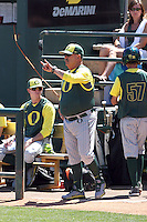 George Horton #8, head coach of the Oregon Ducks, directs his team in a game against the Arizona State Sun Devils on April 3, 2011 at Packard Stadium, Arizona State University, in Tempe, Arizona. .Photo by:  Bill Mitchell/Four Seam Images.