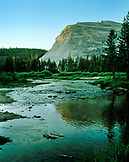 USA, California, the Merced River flowing though the Yosemite Valley floor, Yosemite National Park
