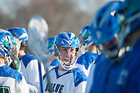 Salve Regina Men's Lacrosse members celebrate their win over Anna Maria at Gaudet Field in Middletown.