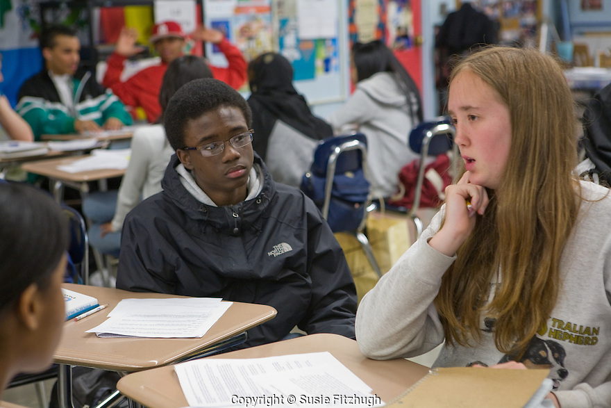 Chief Sealth HS students in Noah Zeichner's Social Studies class: debating the pros and cons of using the atomic bomb in 1945.