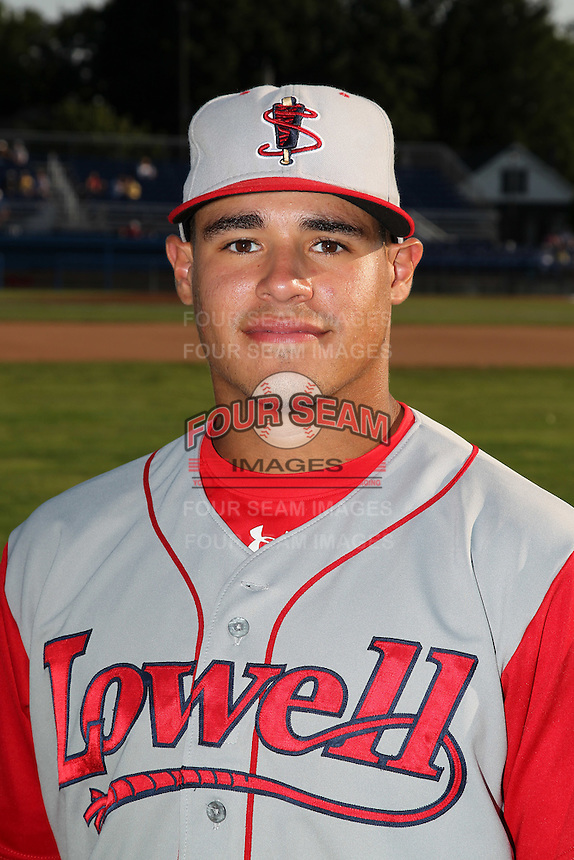 Lowell Spinners catcher Jayson Hernandez poses for a photo before a game vs. the Batavia Muckdogs at Dwyer Stadium in Batavia, New York July 16, 2010.   Batavia defeated Lowell 5-4 with a walk off RBI single.  Photo By Mike Janes/Four Seam Images