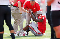 Ohio State Buckeyes quarterback Braxton Miller (5) gets up from an knee injury    During the NCAA football game at Ohio Stadium in Columbus, Ohio on Sept. 7, 2013. (Columbus Dispatch photo by Kyle Robertson
