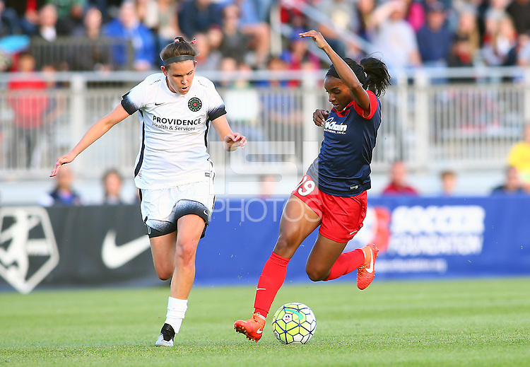 Boyds, MD - Saturday May 07, 2016: Washington Spirit forward Crystal Dunn (19) turns from Portland Thorns FC defender Emily Menges (4) during a regular season National Women's Soccer League (NWSL) match at Maureen Hendricks Field, Maryland SoccerPlex. Washington Spirit tied the Portland Thorns 0-0.