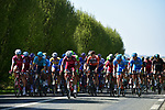 The peloton with Team Katusha Alpecin on the front during the 115th edition of the Paris-Roubaix 2017 race running 257km Compiegne to Roubaix, France. 9th April 2017.<br /> Picture: ASO/P.Ballet | Cyclefile<br /> <br /> <br /> All photos usage must carry mandatory copyright credit (&copy; Cyclefile | ASO/P.Ballet)