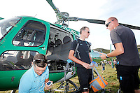 Christopher Froome in the helicopter that ancares port moves to the city of Leon after the stage of La Vuelta 2012 between Palas de Rei and Puerto de Ancares.September 1,2012. (ALTERPHOTOS/Paola Otero) NortePhoto.com<br /> <br /> **CREDITO*OBLIGATORIO** <br /> *No*Venta*A*Terceros*<br /> *No*Sale*So*third*<br /> *** No*Se*Permite*Hacer*Archivo**<br /> *No*Sale*So*third*