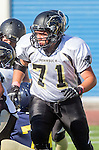 Santa Monica, CA 10/17/13 - Mark Pilato (Peninsula #71) in action during the Peninsula vs Santa Monica Junior Varsity football game at Santa Monica High School.