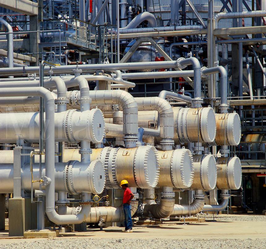 Heat exchangers in oil refinery. Indonesia..
