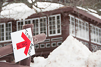 Signs for cross-country skiing at the Keweenaw Mountain Lodge in Copper Harbor Michigan in winter.