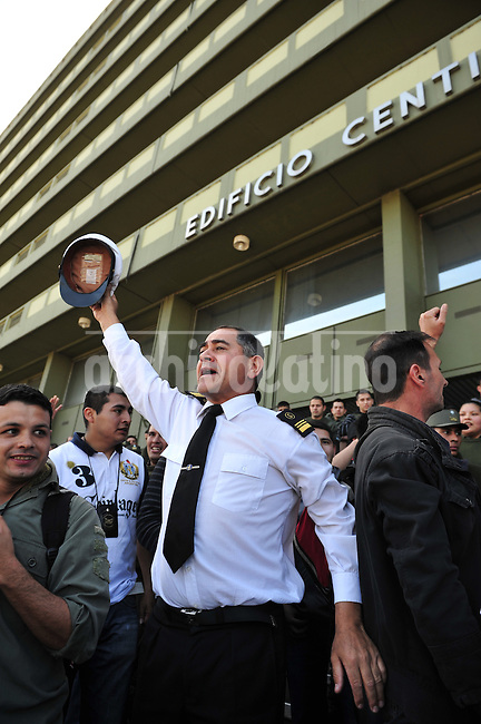 Members of security forces demonstrate against the government claiming for their salaries in Buenos Aires, Argentina