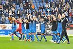 Die Hoffenheimer feiern ihren Sieg beim Spiel in der Fussball Bundesliga, TSG 1899 Hoffenheim - VfL Wolfsburg.<br /> <br /> Foto &copy; PIX-Sportfotos *** Foto ist honorarpflichtig! *** Auf Anfrage in hoeherer Qualitaet/Aufloesung. Belegexemplar erbeten. Veroeffentlichung ausschliesslich fuer journalistisch-publizistische Zwecke. For editorial use only.