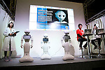"SoftBank robots Pepper perform during the Niconico Douga fan event at Makuhari Messe International Exhibition Hall on April 25, 2015, Chiba, Japan. The event includes special attractions such as J-pop concerts, Sumo and Pro Wrestling matches, cosplay and manga and various robot performances and is broadcast live on via the video-sharing site. Niconico Douga (in English ""Smiley, Smiley Video"") is one of Japan's biggest video community sites where users can upload, view, share videos and write comments directly in real time, creating a sense of a shared watching. According to the organizers more than 200,000 viewers for two days will see the event by internet. The popular event is held in all 11 halls of the huge Makuhari Messe exhibition center from April 25 to 26. (Photo by Rodrigo Reyes Marin/AFLO)"