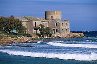 Europe/France/Corse/2B/Haute-Corse/Cap Corse/Tollare: Côte et la tour génoise