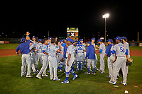 The Ogden Raptors swarm the field at Home of the Owlz on September 11, 2017 in Orem, Utah. Ogden defeated Orem 7-3 to win the South Division Championship. (Stephen Smith/Four Seam Images)