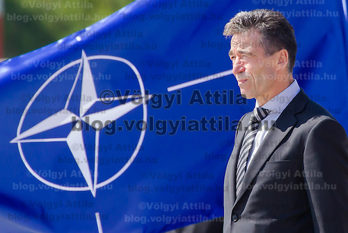 Anders Fogh Rasmussen secretary general of NATO opens a new hangar construction area of the Strategic Airlift Capability (SAC) programme in Papa (about 165 km west of Budapest), Hungary on July 01, 2013. ATTILA VOLGYI
