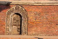 Nepal, Patan.  Doorway into Royal Palace Compound, Durbar Square.