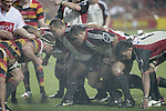 Counties Manukau Steelers front row prepare to pack down in a scrum during the Air NZ Cup week 5 game between Waikato & Counties Manukau played at Rugby Park, Hamilton on 26th of August 2006.